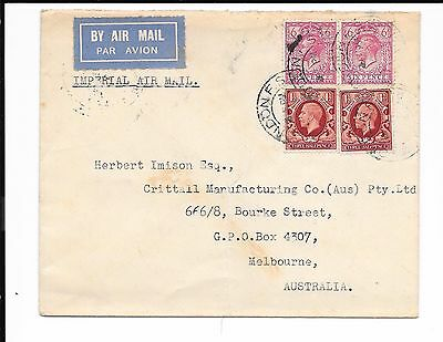 Australia Inward Bound Imp Airways Cover 1/3 Rate Received Melbourne 1931