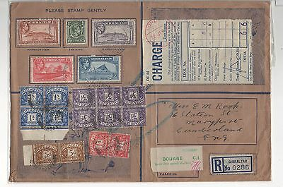 GIBRALTAR H.M FORCES LARGE ENVELOPE TO UK 10d RATE WITH POSTAGE DUES APPLIED.