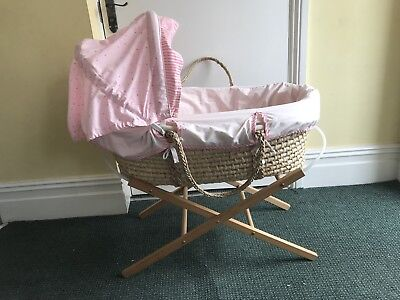 Lollypop Lane Moses Basket Pink And Stand