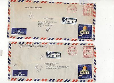ADEN 2 x METERED COVERS 1981 G.PO CRATER RGd LABELS. LONG COVERS