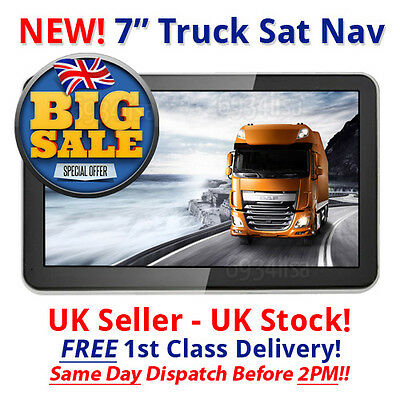 2017 released maps! 7 inch HD truck/hgv sat nav GPS UK stock UK and EURO maps