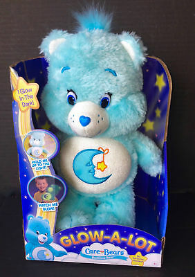 "Care Bears Bedtime Glow A Lot Plush Soft Blue Teddy 12"" Comforter Bnib"