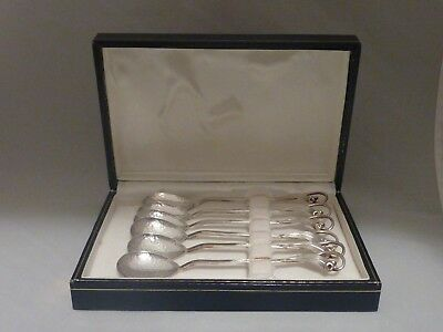 Boxed set of six vintage Australian solid silver gumnut spoons - Margaret Mather