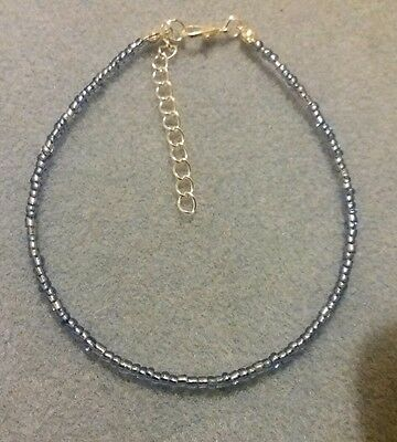 Blue Silver Lined Handmade Seed Bead Ankle Bracelet Chain Anklet