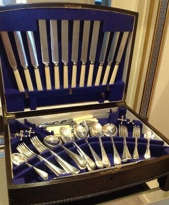 Vintage 49 Piece Canteen Silver Plated Cutlery Viners / Wingfield Plus Fish Set