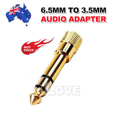 3.5mm Female to 6.5mm Male GOLD Headphone Adapter Jack Socket Plug Converter