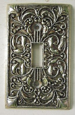 ORNATE LIGHT SWITCH PLATE COVER SINGLE TOGGLE METAL ART NOUVEAU RELIEF Vintage