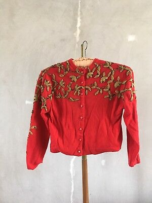 Vintage 1950's /40's Tiny Button Cardigan - Metal Work Embroidery -SZ m - Wool