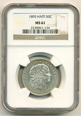 Haiti Silver 1895 50 Centimes MS61 NGC