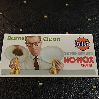 Vtg Gulf Oil Company Fuel Oil Ink Blotter Unused No Nox Burns Clean Man