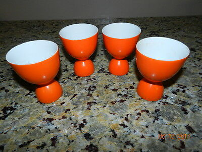 Vintage Bright Orange Pottery Double Egg Cup Ex++ Lot of 4 servers