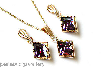 9ct Gold Purple CZ Pendant and Earring Set Gift Boxed Made in UK