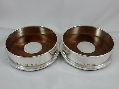 QUALITY pair, solid silver WINE BOTTLE COASTERS, 2006