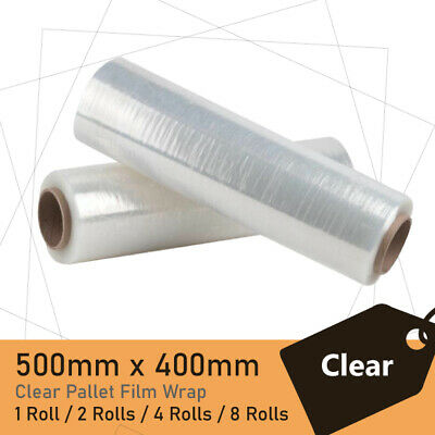1/2/4/8 Rolls  CLEAR 500mmx400m 25UM Stretch Film Pallet Wrap Carton Shrink OZ