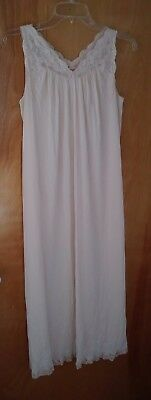 Exquisite vintage  Shadowline soft pink long nightgown with lace accents
