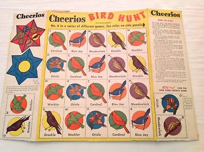 "Cheerios ""Bird Hunt""  Game Cereal Box Back/2 Side Panels c.1956"