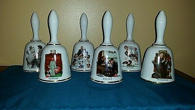 Norman Rockwell ~ SET OF SIX ~ BELLS Danbury Mint 1975 and 1976 Limited Editions
