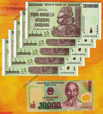 5 x 200 Million Zimbabwe Dollars AA 2008 +10,000 Vietnam Dong Banknotes Currency