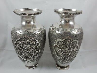LARGE pair PERSIAN solid silver VASES, c1920, 1045gm