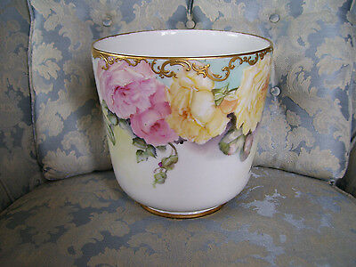 Gorgeous Limoges Planter with Pastel Roses and Raised Gold Paste