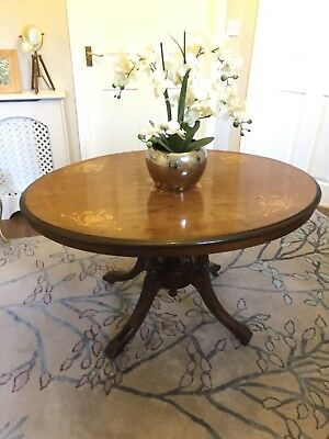 Victorian Round Tilt Top Breakfast Table Carved Base