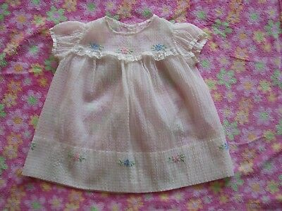 Baby Dress Small Lace Embroidered Flowers Cotton White Vintage 1940's