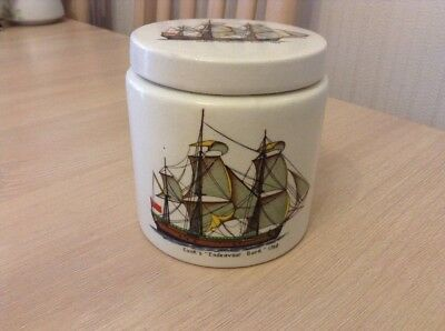 Royal Norfolk Pottery Jar Decorated With James Cook's Endeavour Ship