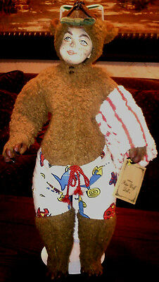 """""""The Beach Bear"""", 1991 One Of A Kind, Signed by Peter Wolf, doll artist"""