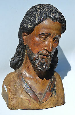 SPANISH COLONIAL SANTOS 18TH CENTURY BUST of JESUS CHRIST
