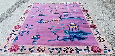 "EXCEPTIONAL Antique Chinese Art Deco rug - Miami Dr's estate 114"" x 92"""