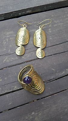 Mexican Artisan Handmade Brass & Copper Set Of Earrings & Ring With Amethyst