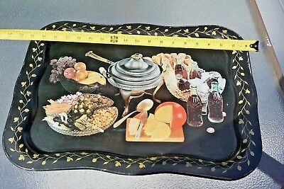 Vintage Metal Tin Tray With Coca Cola And Other Food Painted Rare Antique