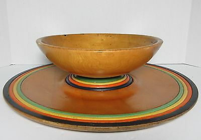 Arts & Crafts California? Large Turned Wood Painted Bowl & Under Plate Signed