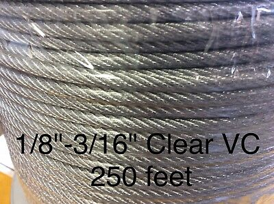 "Vinyl Coated Steel Aircraft Cable Wire Rope 250' 1/8"" VC 3/16"" 7x7 Clear"
