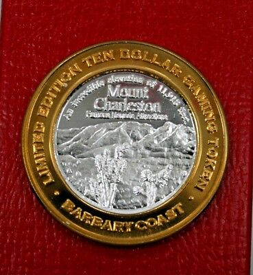 $10 Silver Gaming Token**barbary Coast**las Vegas*11,918 Foot Mount Charleston*
