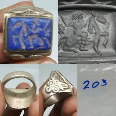 Lapis lazuli Ancient intaglio stone Silver Wonderful Ring #203