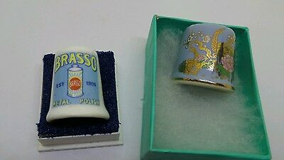 Two China Collectable Vintage Thimbles 1 x Brasso 1 x Blue Floral Gold Patterned