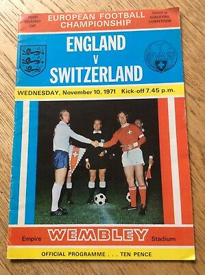 England v Switzerland 10 November 1971 Football Programme