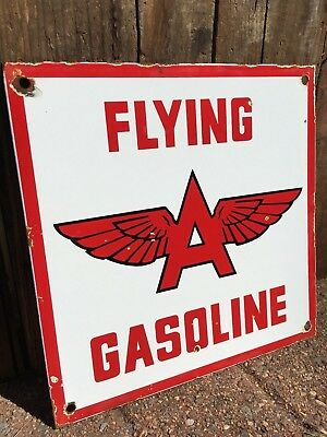 "Flying A Gasoline & Oil Heavy Steel Porcelain 12"" Sign Pump Plate Service Gas"