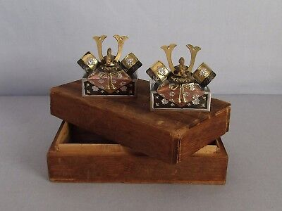 Antique Japanese Sterling Silver Mix Metal Salt And Pepper Set