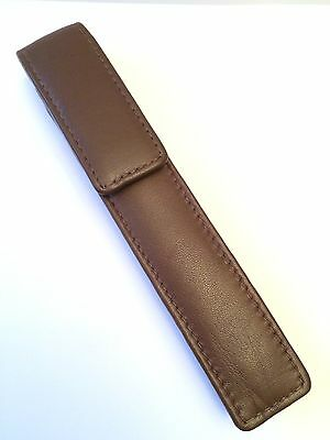 Brown REAL Napa Leather Single Magnetic Pen Case/Pouch