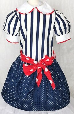 Vintage YoungLand Dress Girl Sz 7 Red White Blue Adorable EUC