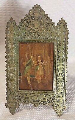 Unique Antique Brass Frame marked 626 w/ oil print on board Victorian man woman