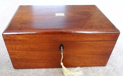 Antique Victorian mahogany sewing box with inlaid monogrammed cartouche.