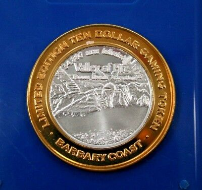 Barbary Coast--Las Vegas--$10 Silver Gaming Token--Valley Of Fire---.999 Silver