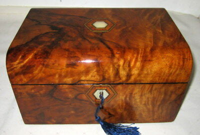 LOVELY VICTORIAN FIGURED WALNUT & MOP BOX with original key