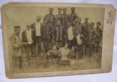 1910 Hagenbeck Wallace Circus Afro American Band in Uniform Cabinet Photo