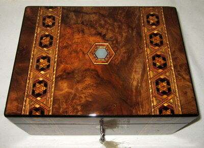 Beautiful good size (30cms wide) antique walnut & banded box with key