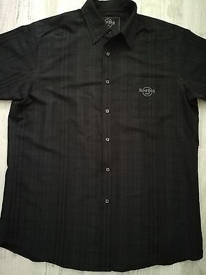 Hard Rock Cafe Button Up T Shirt Black Plaid EUC Men's Size Large Toronto (A2)