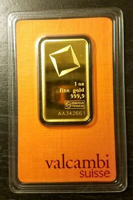 1 oz 9999 Fine Gold Bar Valcambi Mint Sealed